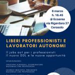 Liberi professionisti e lavoratori autonomi – Il jobs act per i professionisti, il nuovo DDL e le nuove opportunità – Il 6 marzo incontro ad Ecoarea